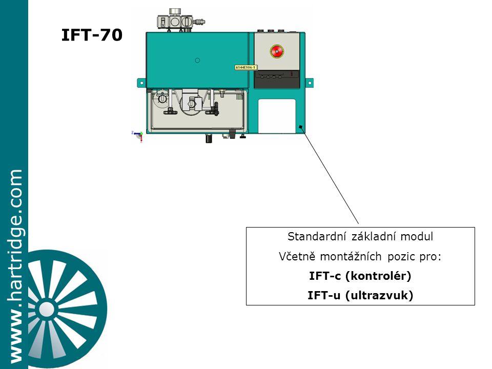 www.hartridge.com IFT-70 Standardní základní modul Včetně montážních pozic pro: IFT-c (kontrolér) IFT-u (ultrazvuk)