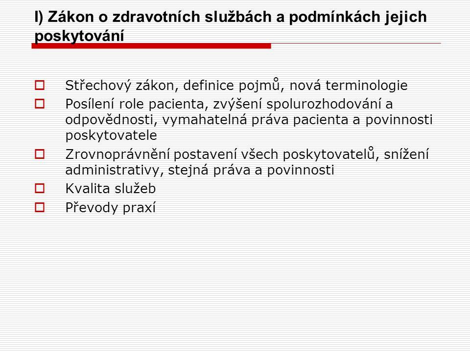 I) Zákon o zdravotních službách a podmínkách jejich poskytování  Střechový zákon, definice pojmů, nová terminologie  Posílení role pacienta, zvýšení