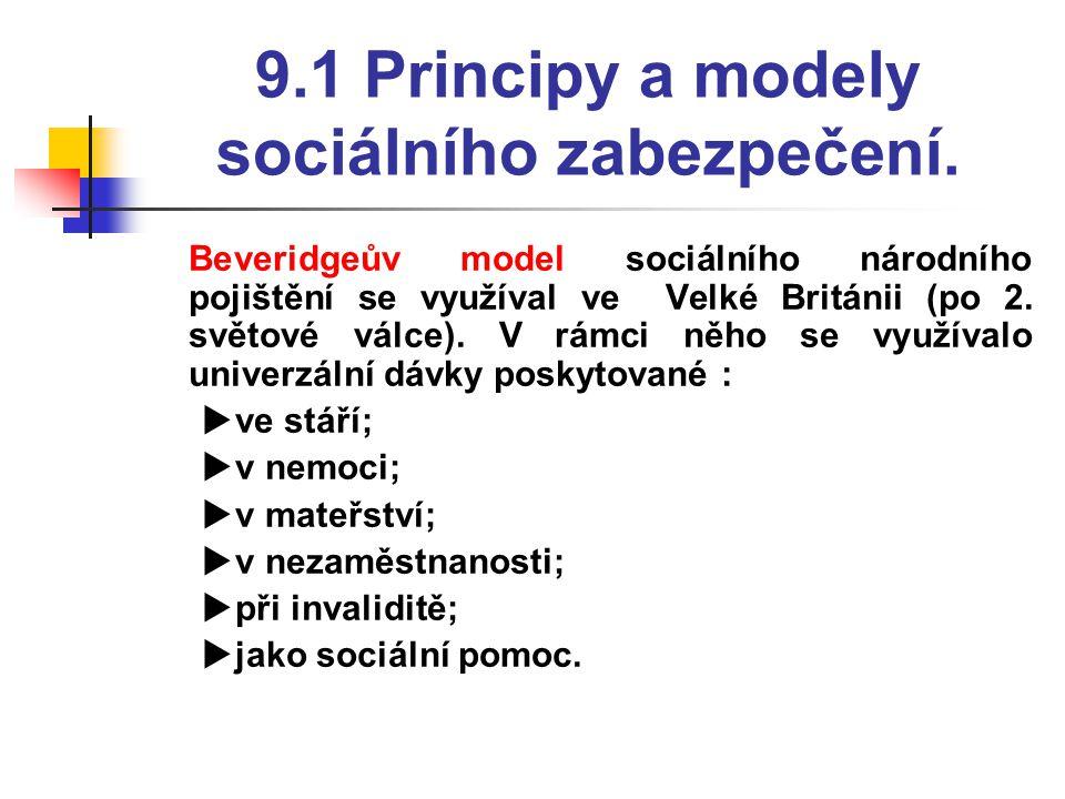 9.1 Principy a modely sociálního zabezpečení.  Beveridgeův model sociálního národního pojištění se využíval ve Velké Británii (po 2. světové válce).