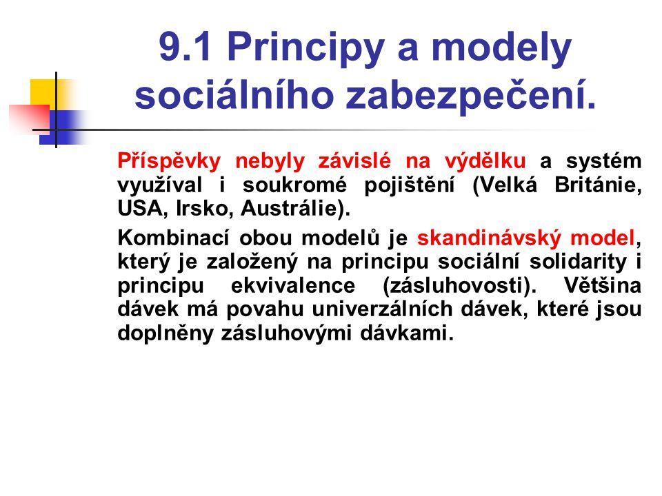 9.1 Principy a modely sociálního zabezpečení.  Příspěvky nebyly závislé na výdělku a systém využíval i soukromé pojištění (Velká Británie, USA, Irsko