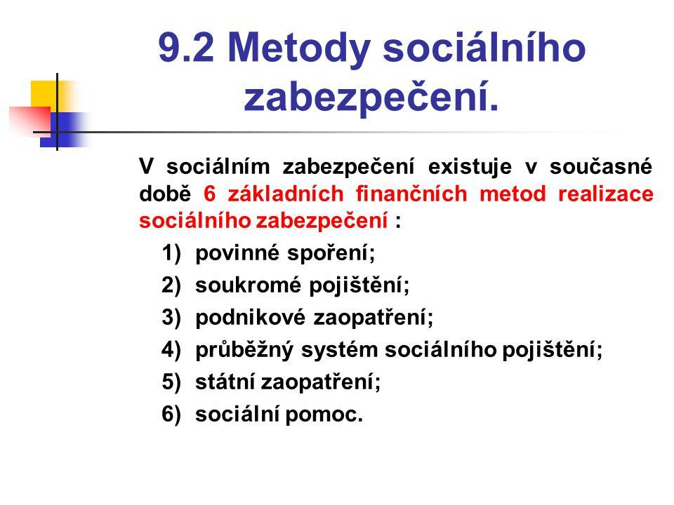 9.2 Metody sociálního zabezpečení.  V sociálním zabezpečení existuje v současné době 6 základních finančních metod realizace sociálního zabezpečení :