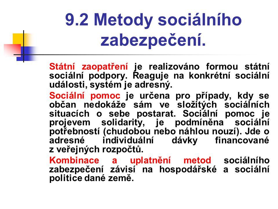 9.2 Metody sociálního zabezpečení.  Státní zaopatření je realizováno formou státní sociální podpory. Reaguje na konkrétní sociální události, systém j