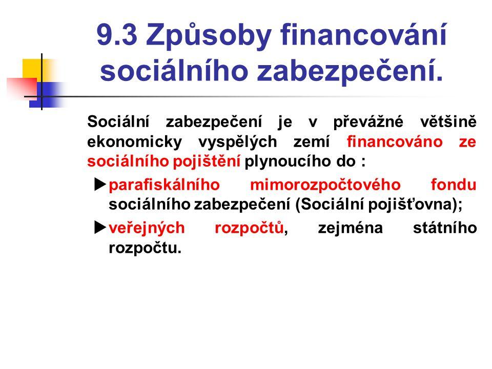 9.3 Způsoby financování sociálního zabezpečení.  Sociální zabezpečení je v převážné většině ekonomicky vyspělých zemí financováno ze sociálního pojiš