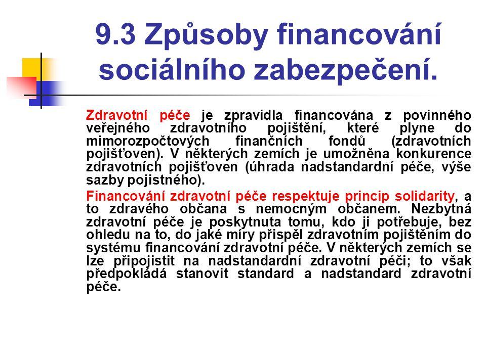 9.3 Způsoby financování sociálního zabezpečení.  Zdravotní péče je zpravidla financována z povinného veřejného zdravotního pojištění, které plyne do