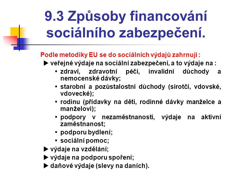 9.3 Způsoby financování sociálního zabezpečení.  Podle metodiky EU se do sociálních výdajů zahrnují :  veřejné výdaje na sociální zabezpečení, a to