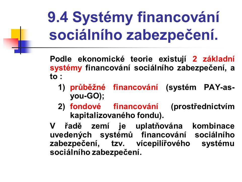 9.4 Systémy financování sociálního zabezpečení.  Podle ekonomické teorie existují 2 základní systémy financování sociálního zabezpečení, a to : 1)prů