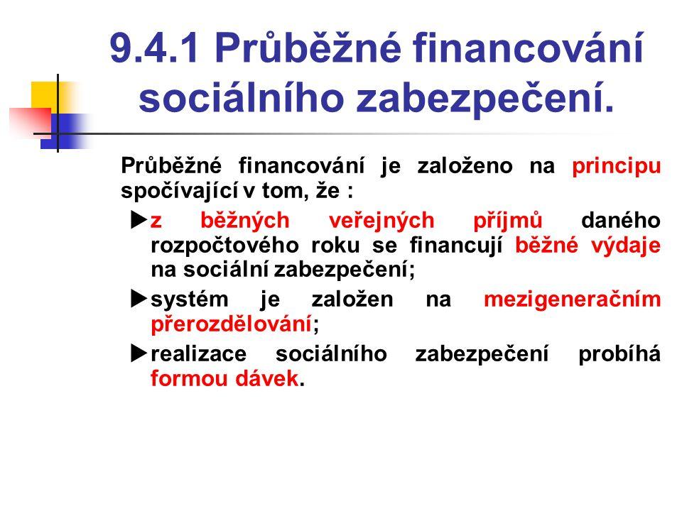 9.4.1 Průběžné financování sociálního zabezpečení.  Průběžné financování je založeno na principu spočívající v tom, že :  z běžných veřejných příjmů