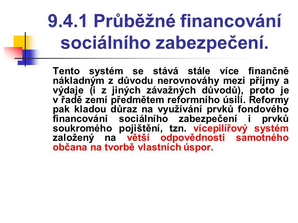 9.4.1 Průběžné financování sociálního zabezpečení.  Tento systém se stává stále více finančně nákladným z důvodu nerovnováhy mezi příjmy a výdaje (i