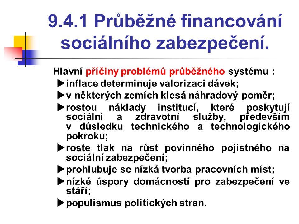 9.4.1 Průběžné financování sociálního zabezpečení.  Hlavní příčiny problémů průběžného systému :  inflace determinuje valorizaci dávek;  v některýc