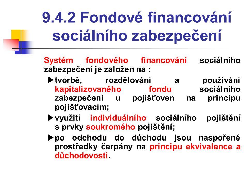 9.4.2 Fondové financování sociálního zabezpečení  Systém fondového financování sociálního zabezpečení je založen na :  tvorbě, rozdělování a používání kapitalizovaného fondu sociálního zabezpečení u pojišťoven na principu pojišťovacím;  využití individuálního sociálního pojištění s prvky soukromého pojištění;  po odchodu do důchodu jsou naspořené prostředky čerpány na principu ekvivalence a důchodovosti.