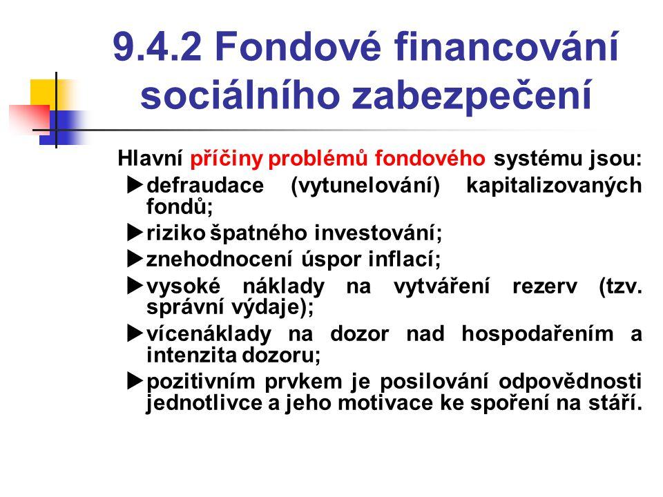 9.4.2 Fondové financování sociálního zabezpečení  Hlavní příčiny problémů fondového systému jsou:  defraudace (vytunelování) kapitalizovaných fondů;  riziko špatného investování;  znehodnocení úspor inflací;  vysoké náklady na vytváření rezerv (tzv.