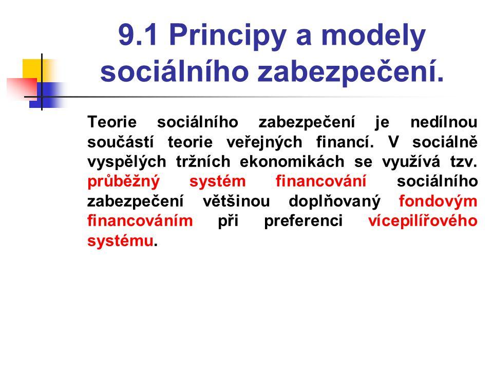 9.1 Principy a modely sociálního zabezpečení.  Teorie sociálního zabezpečení je nedílnou součástí teorie veřejných financí. V sociálně vyspělých tržn