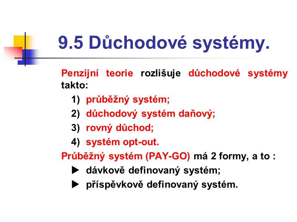 9.5 Důchodové systémy.  Penzijní teorie rozlišuje důchodové systémy takto: 1)průběžný systém; 2)důchodový systém daňový; 3)rovný důchod; 4)systém opt