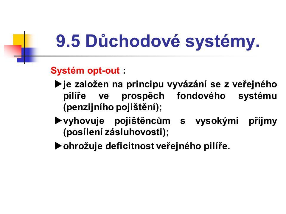 9.5 Důchodové systémy.  Systém opt-out :  je založen na principu vyvázání se z veřejného pilíře ve prospěch fondového systému (penzijního pojištění)