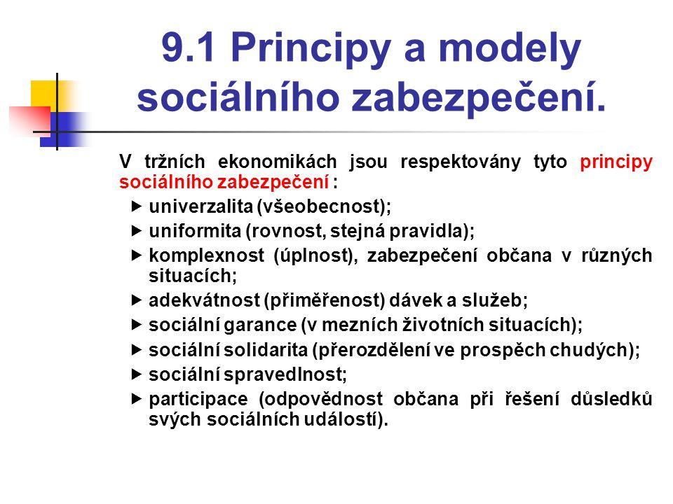 9.1 Principy a modely sociálního zabezpečení.  V tržních ekonomikách jsou respektovány tyto principy sociálního zabezpečení :  univerzalita (všeobec