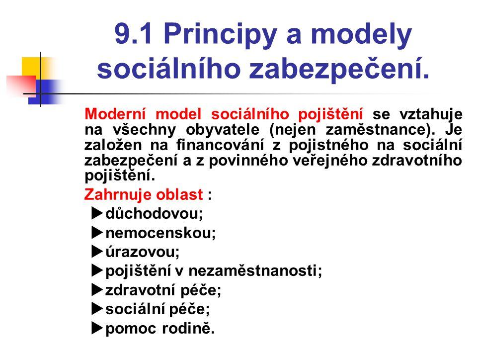 9.1 Principy a modely sociálního zabezpečení.  Moderní model sociálního pojištění se vztahuje na všechny obyvatele (nejen zaměstnance). Je založen na