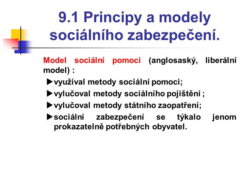 9.1 Principy a modely sociálního zabezpečení.  Model sociální pomoci (anglosaský, liberální model) :  využíval metody sociální pomoci;  vylučoval m