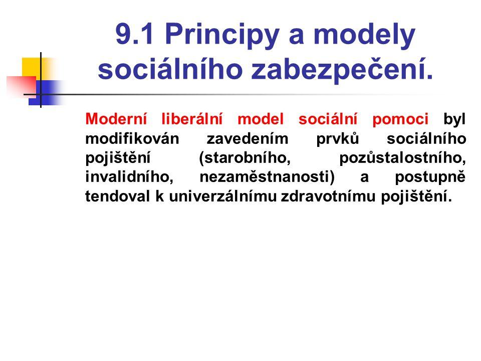 9.1 Principy a modely sociálního zabezpečení.  Moderní liberální model sociální pomoci byl modifikován zavedením prvků sociálního pojištění (starobní