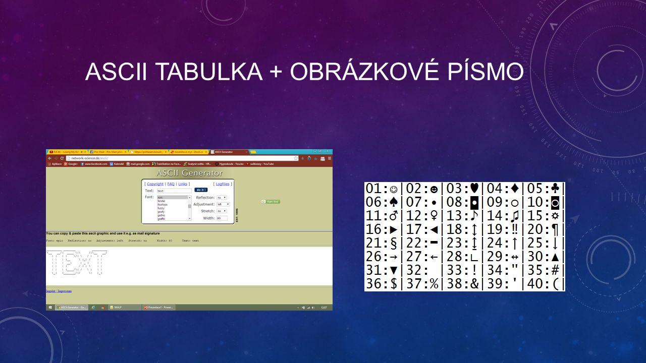 ASCII TABULKA + OBRÁZKOVÉ PÍSMO