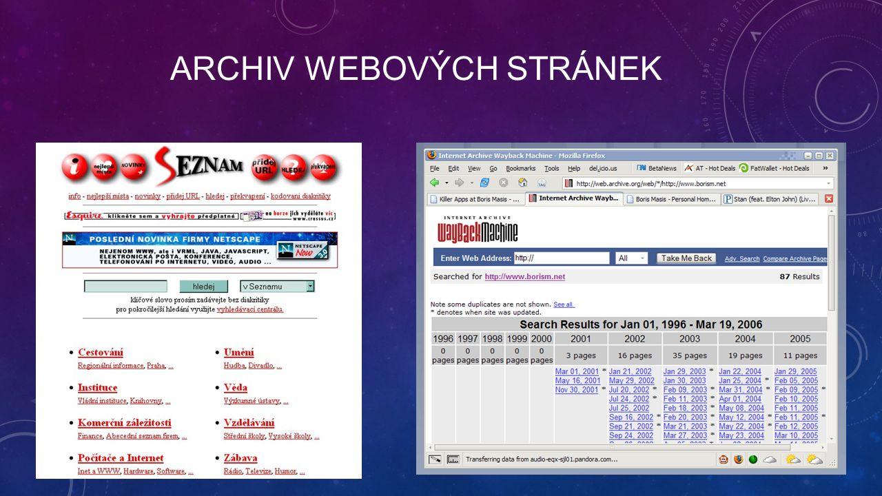 ARCHIV WEBOVÝCH STRÁNEK