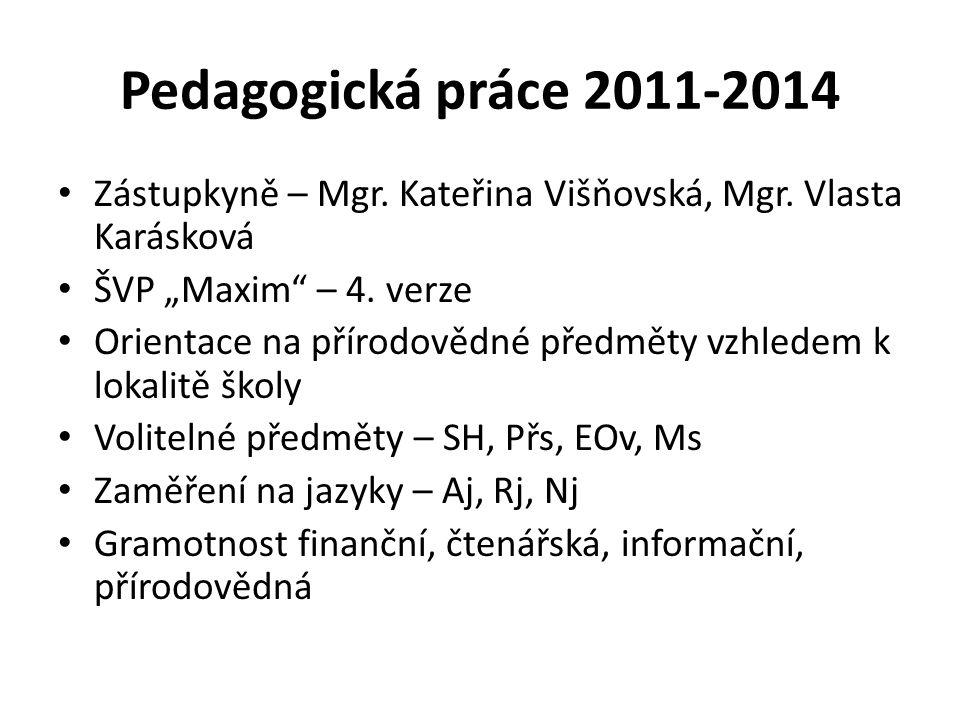 """Pedagogická práce 2011-2014 Zástupkyně – Mgr. Kateřina Višňovská, Mgr. Vlasta Karásková ŠVP """"Maxim"""" – 4. verze Orientace na přírodovědné předměty vzhl"""