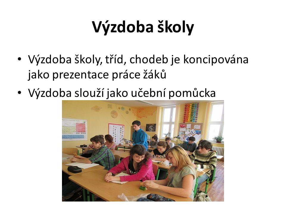 Výzdoba školy Výzdoba školy, tříd, chodeb je koncipována jako prezentace práce žáků Výzdoba slouží jako učební pomůcka