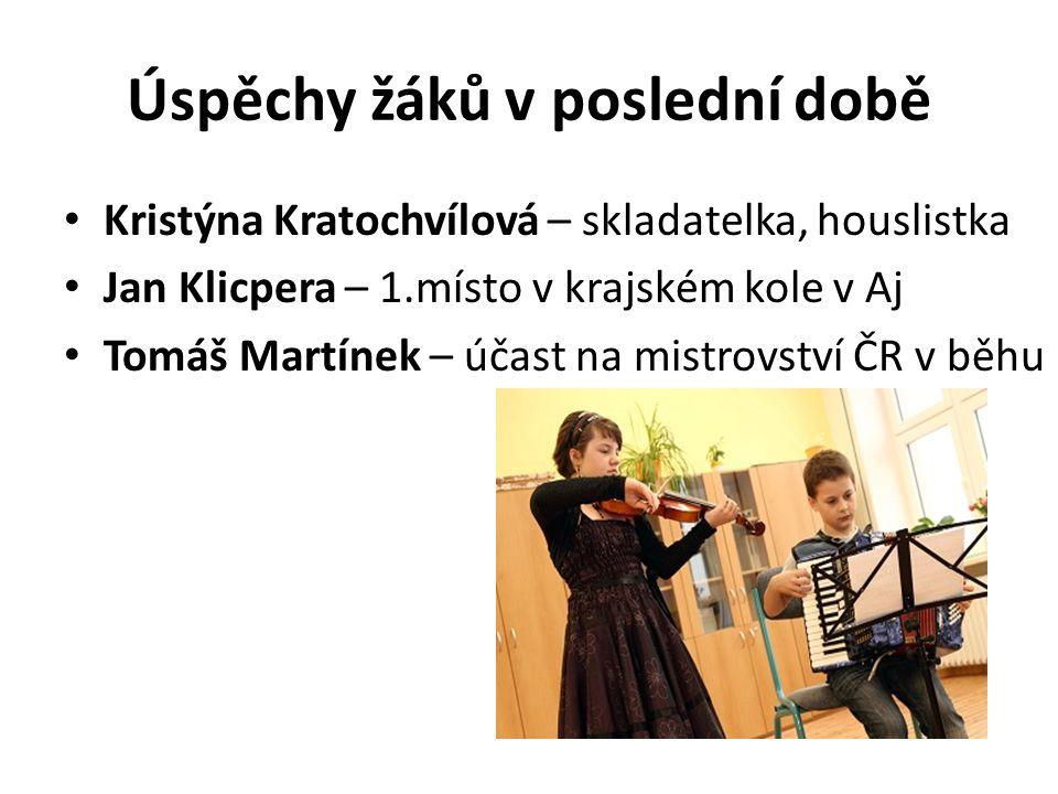 Úspěchy žáků v poslední době Kristýna Kratochvílová – skladatelka, houslistka Jan Klicpera – 1.místo v krajském kole v Aj Tomáš Martínek – účast na mi