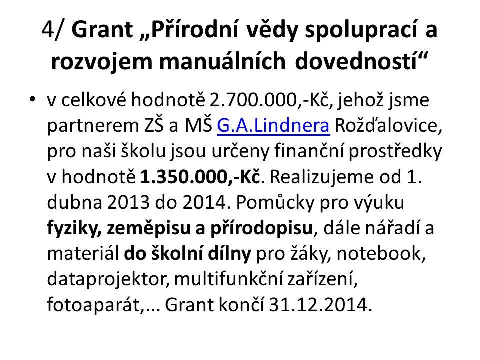 """4/ Grant """"Přírodní vědy spoluprací a rozvojem manuálních dovedností"""" v celkové hodnotě 2.700.000,-Kč, jehož jsme partnerem ZŠ a MŠ G.A.Lindnera Rožďal"""