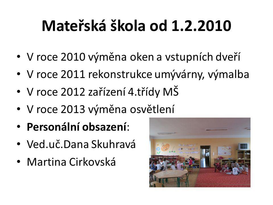 Mateřská škola od 1.2.2010 V roce 2010 výměna oken a vstupních dveří V roce 2011 rekonstrukce umývárny, výmalba V roce 2012 zařízení 4.třídy MŠ V roce
