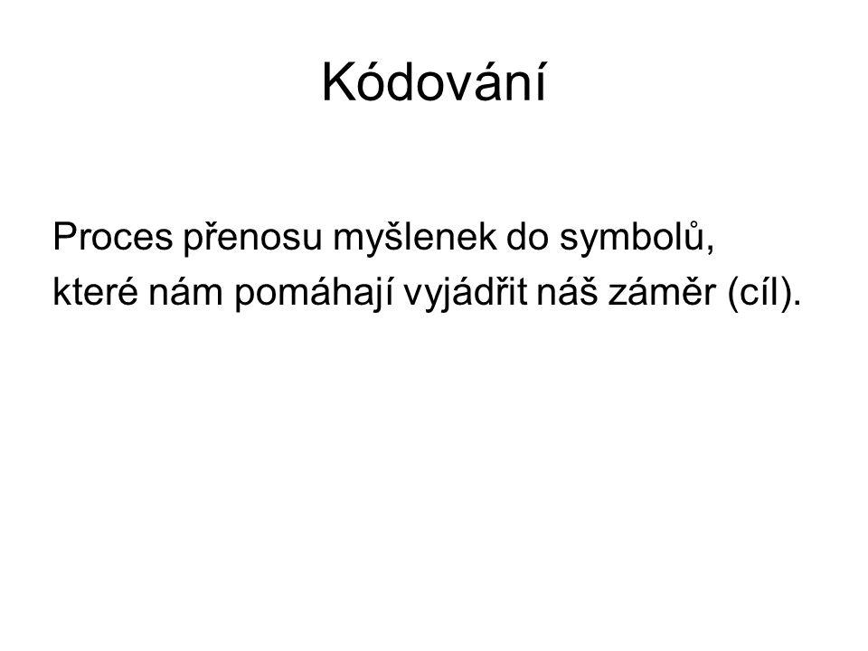 Kódování Proces přenosu myšlenek do symbolů, které nám pomáhají vyjádřit náš záměr (cíl).