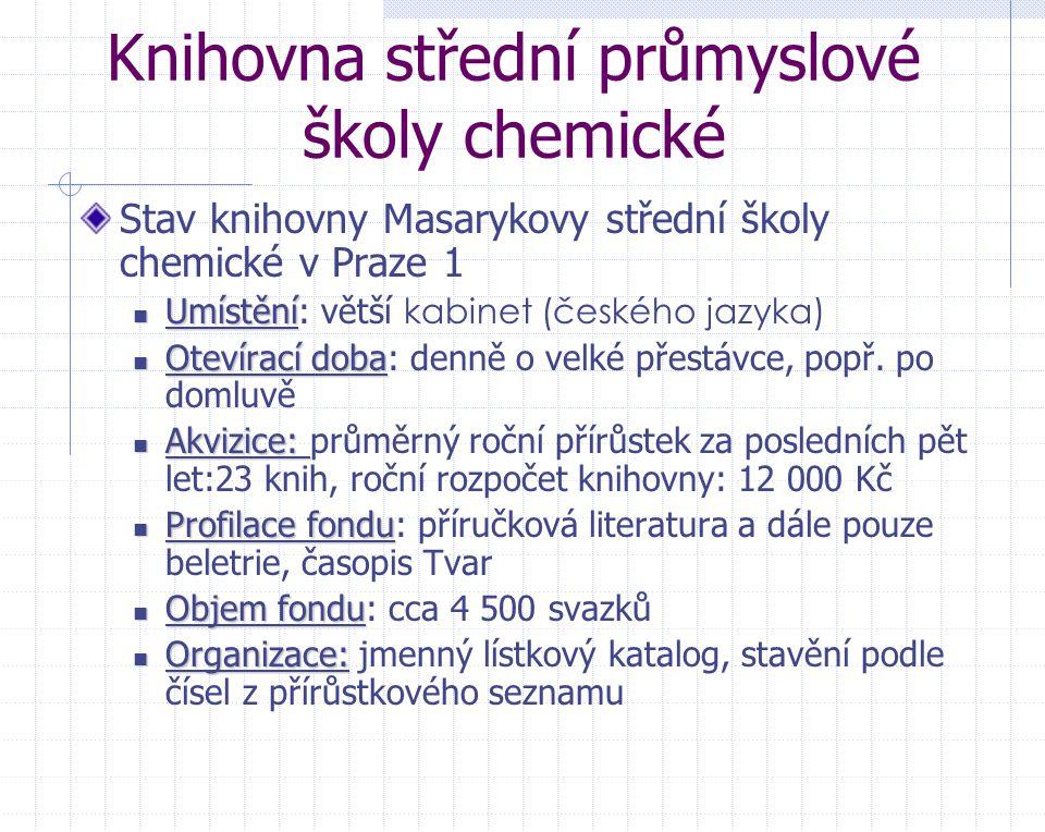 Knihovna střední průmyslové školy chemické Stav knihovny Masarykovy střední školy chemické v Praze 1 Umístění Umístění: větší kabinet (českého jazyka)
