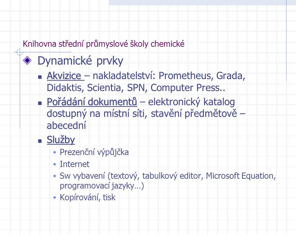 Knihovna střední průmyslové školy chemické Dynamické prvky Akvizice Akvizice – nakladatelství: Prometheus, Grada, Didaktis, Scientia, SPN, Computer Pr