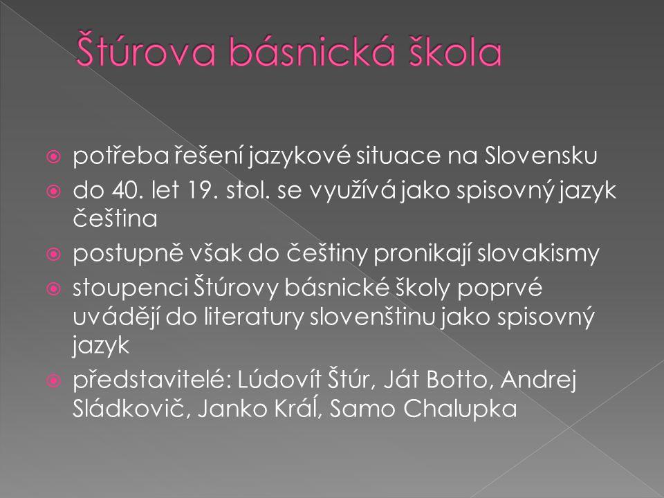  potřeba řešení jazykové situace na Slovensku  do 40. let 19. stol. se využívá jako spisovný jazyk čeština  postupně však do češtiny pronikají slov