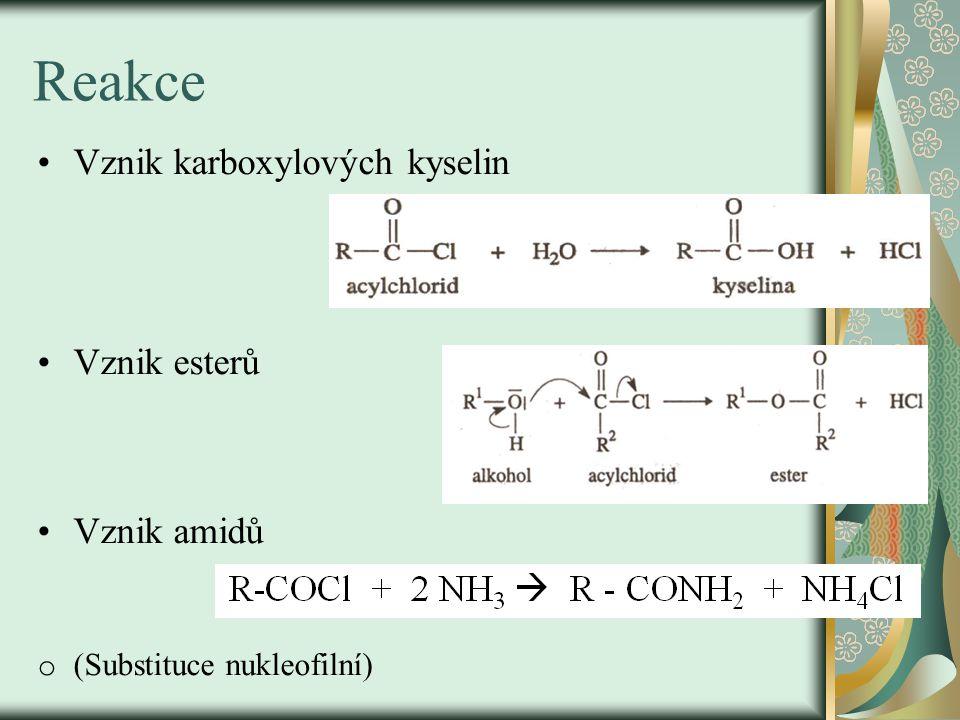 Významné acylhalogenidy o Acetylchlorid – CH 3 COCl bezbarvá kapalina silného zápachu silně reaguje s vodou o Benzoylchlorid – bezbarvá těkavá kapalina používá se při výrobě barviv, organických peroxidů, léčiv Acylační činidla