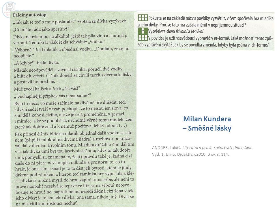 ANDREE, Lukáš. Literatura pro 4. ročník středních škol. Vyd. 1. Brno: Didaktis, c2010, 3 sv. s. 114. Milan Kundera – Směšné lásky