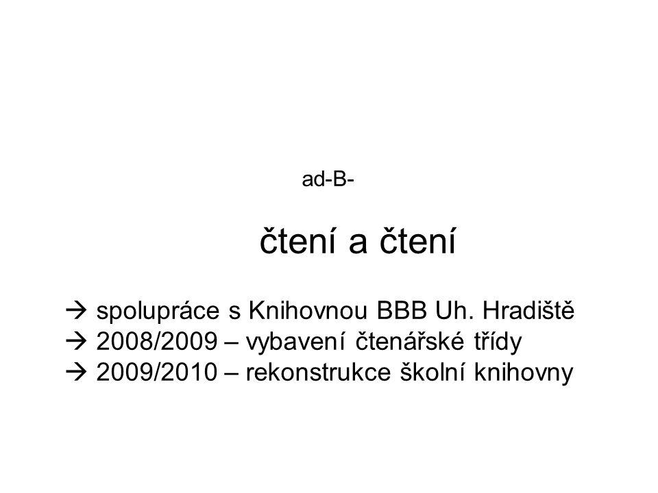 ad-B- čtení a čtení  spolupráce s Knihovnou BBB Uh. Hradiště  2008/2009 – vybavení čtenářské třídy  2009/2010 – rekonstrukce školní knihovny