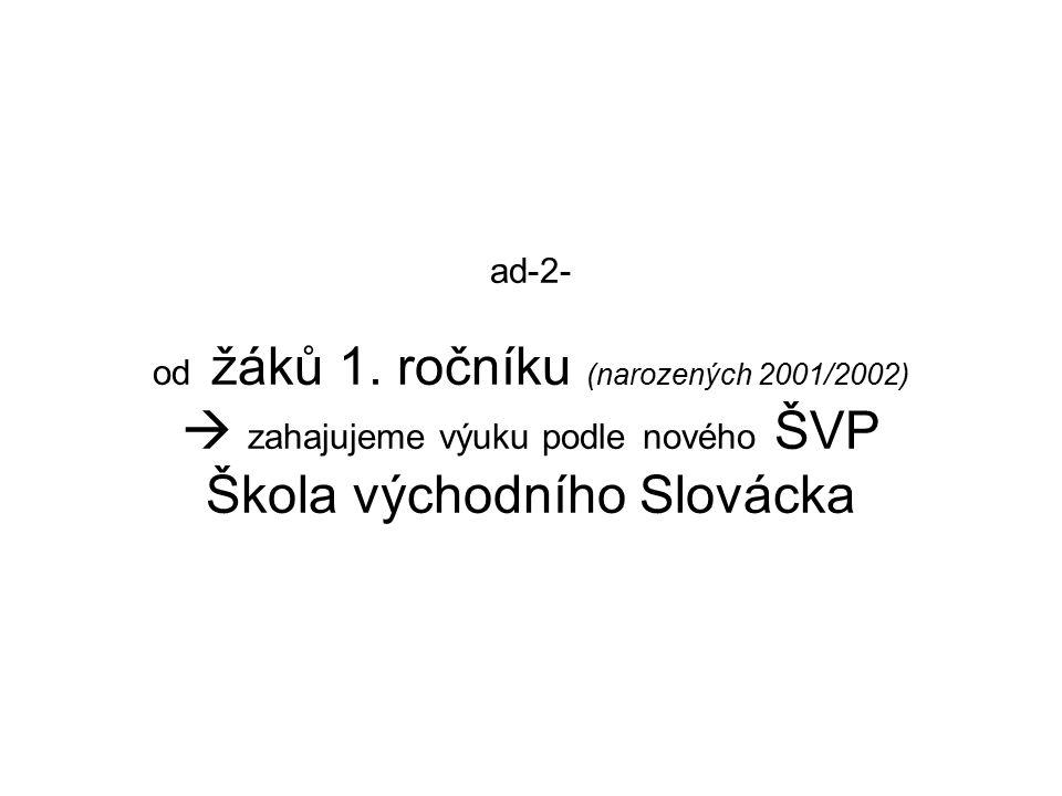 ad-2- od žáků 1. ročníku (narozených 2001/2002)  zahajujeme výuku podle nového ŠVP Škola východního Slovácka