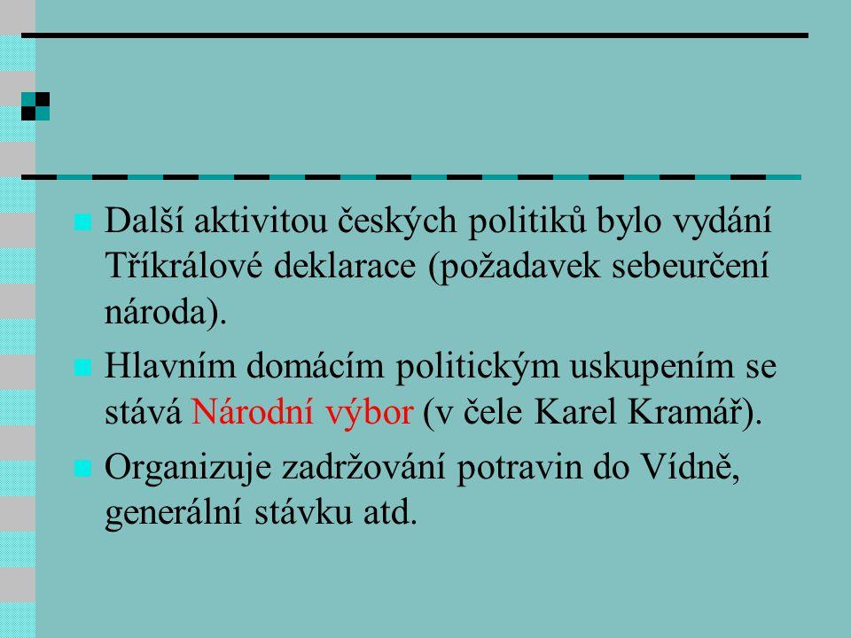 Další aktivitou českých politiků bylo vydání Tříkrálové deklarace (požadavek sebeurčení národa).