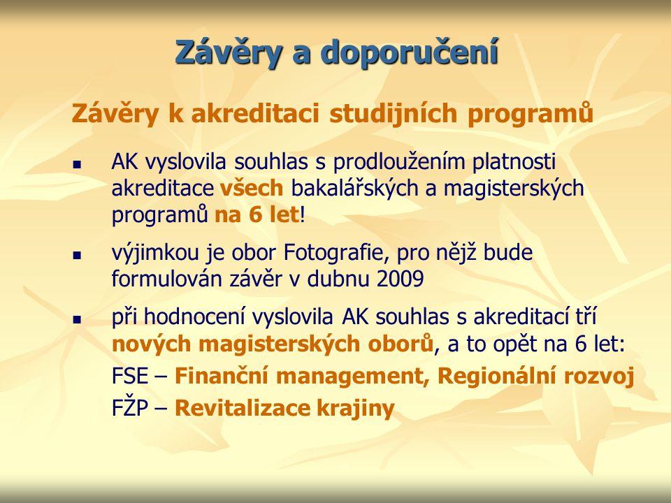 Závěry a doporučení Závěry k akreditaci studijních programů AK vyslovila souhlas s prodloužením platnosti akreditace všech bakalářských a magisterských programů na 6 let.