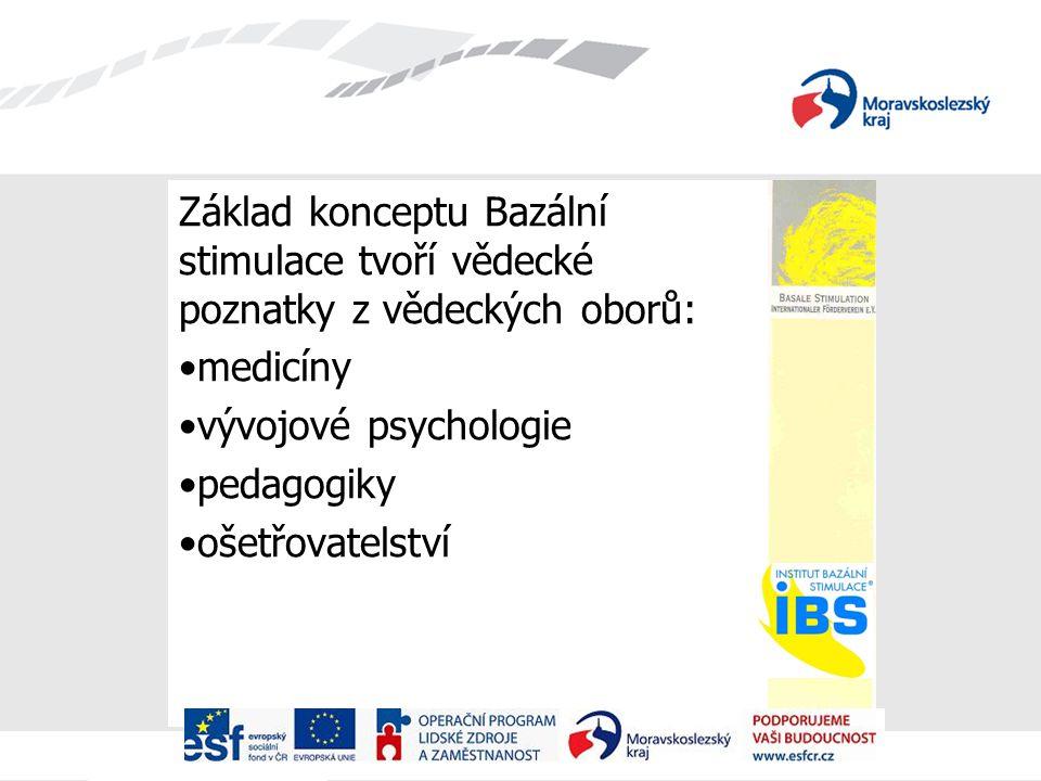 Základ konceptu Bazální stimulace tvoří vědecké poznatky z vědeckých oborů: medicíny vývojové psychologie pedagogiky ošetřovatelství