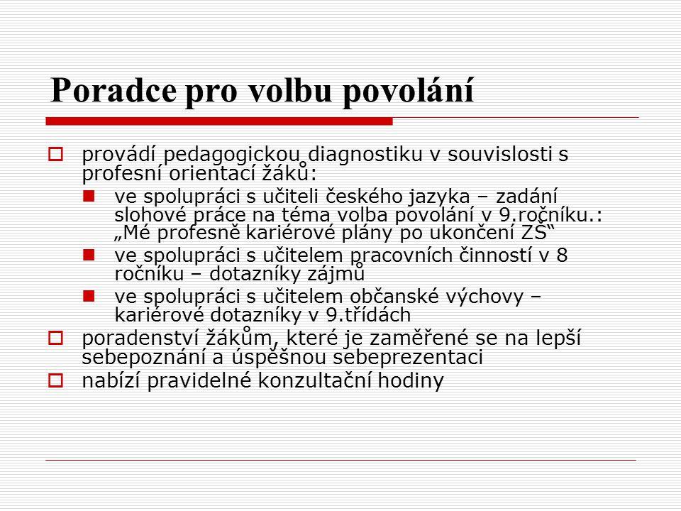 Poradce pro volbu povolání  provádí pedagogickou diagnostiku v souvislosti s profesní orientací žáků: ve spolupráci s učiteli českého jazyka – zadání