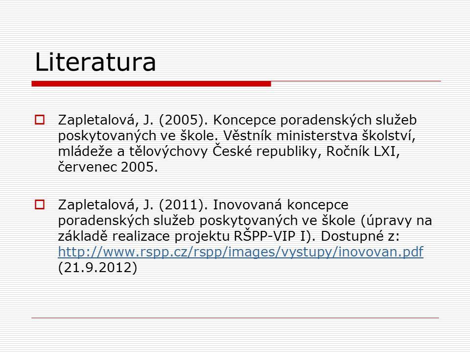 Literatura  Zapletalová, J. (2005). Koncepce poradenských služeb poskytovaných ve škole. Věstník ministerstva školství, mládeže a tělovýchovy České r