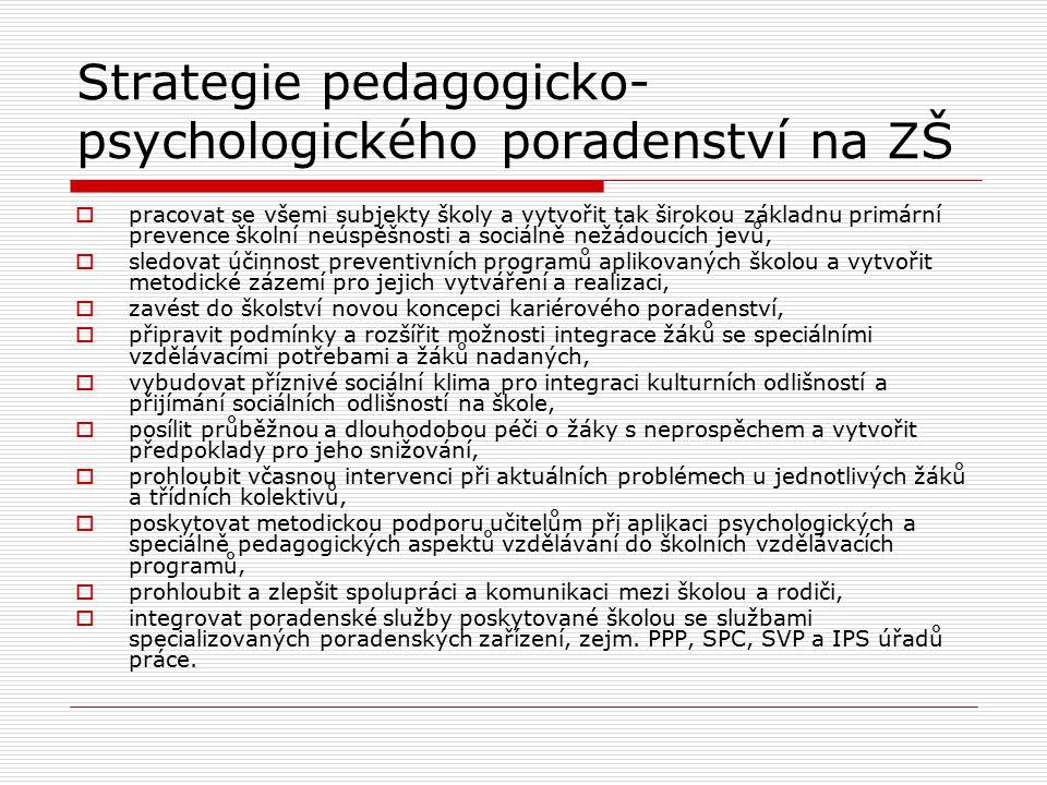 Strategie pedagogicko- psychologického poradenství na ZŠ  pracovat se všemi subjekty školy a vytvořit tak širokou základnu primární prevence školní n