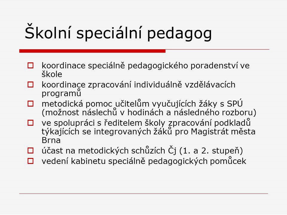 Školní speciální pedagog  koordinace speciálně pedagogického poradenství ve škole  koordinace zpracování individuálně vzdělávacích programů  metodi