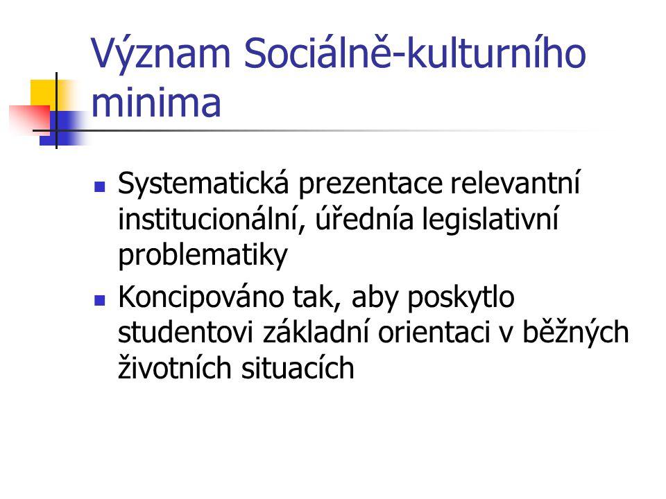 Význam Sociálně-kulturního minima Systematická prezentace relevantní institucionální, úřednía legislativní problematiky Koncipováno tak, aby poskytlo studentovi základní orientaci v běžných životních situacích