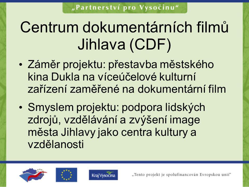 Centrum dokumentárních filmů Jihlava (CDF) Záměr projektu: přestavba městského kina Dukla na víceúčelové kulturní zařízení zaměřené na dokumentární film Smyslem projektu: podpora lidských zdrojů, vzdělávání a zvýšení image města Jihlavy jako centra kultury a vzdělanosti