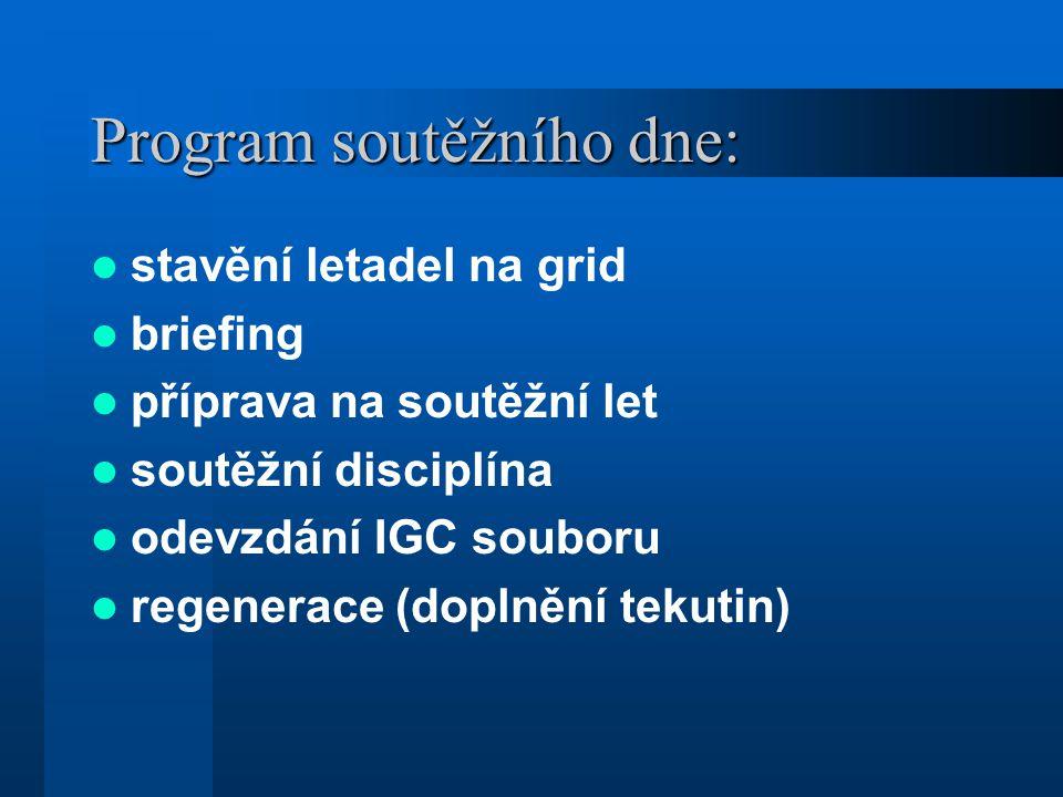 Program soutěžního dne: stavění letadel na grid briefing příprava na soutěžní let soutěžní disciplína odevzdání IGC souboru regenerace (doplnění tekutin)
