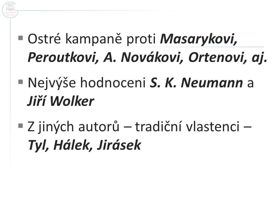  Ostré kampaně proti Masarykovi, Peroutkovi, A. Novákovi, Ortenovi, aj.  Nejvýše hodnoceni S. K. Neumann a Jiří Wolker  Z jiných autorů – tradiční