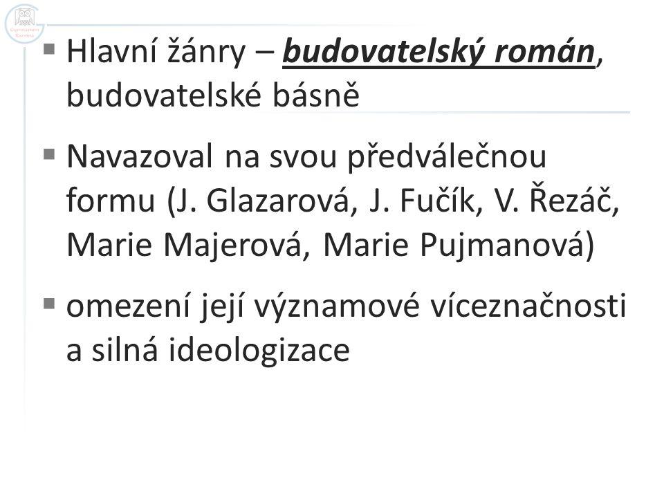  Hlavní žánry – budovatelský román, budovatelské básně  Navazoval na svou předválečnou formu (J. Glazarová, J. Fučík, V. Řezáč, Marie Majerová, Mari