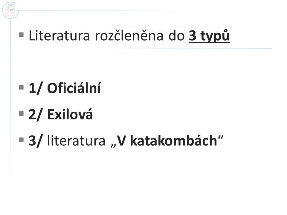 """ Literatura rozčleněna do 3 typů  1/ Oficiální  2/ Exilová  3/ literatura """"V katakombách"""""""